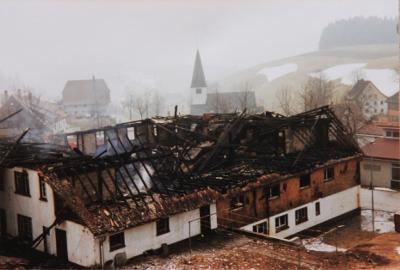 Gasthaus Rößle nach dem Brand im April 1981